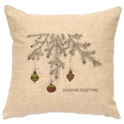 X-Mas Bulbs Throw Pillow Color: Natural
