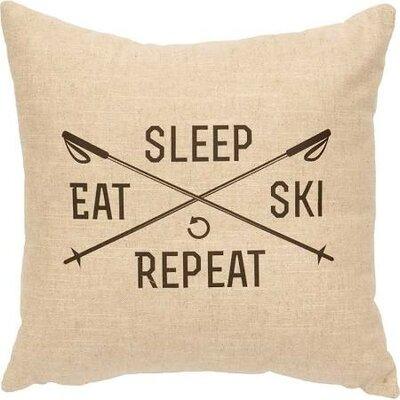 Sleep, Eat, Ski, Repeat Throw Pillow Color: Natural