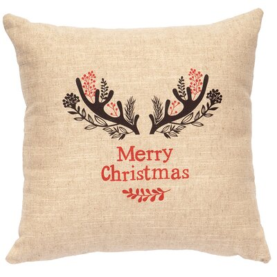 X-Mas Antlers Throw Pillow Color: Natural