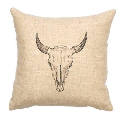 Linen Image Throw Pillow Color: Khaki Bull Skull