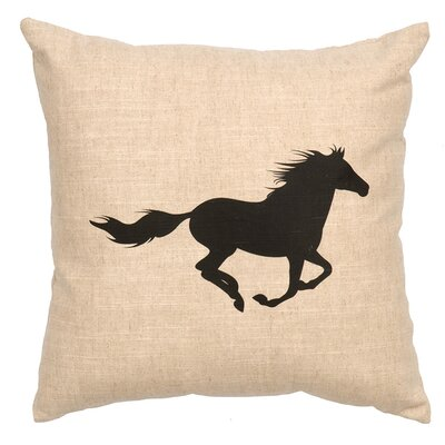Linen Image Throw Pillow Color: Khaki Running Horse