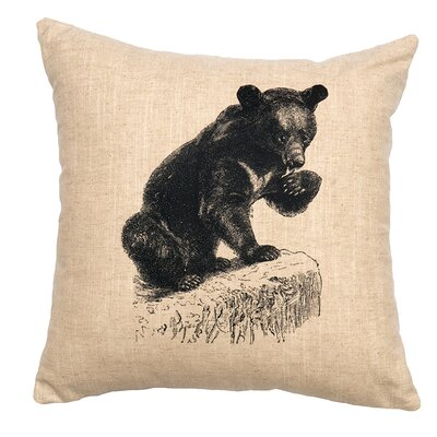 Linen Image Throw Pillow Color: Khaki Bear Cub