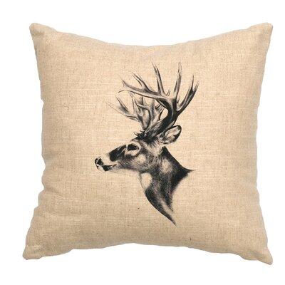 Linen Image Throw Pillow Color: Khaki Deer Profile