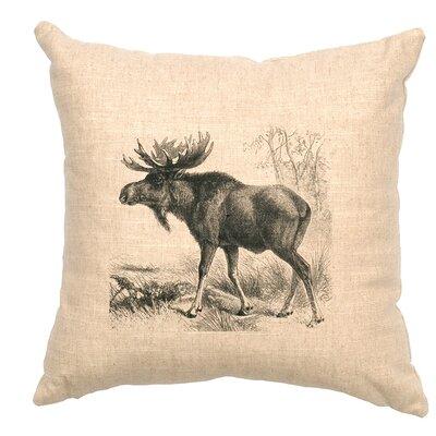 Linen Image Throw Pillow Color: Khaki Moose Scene