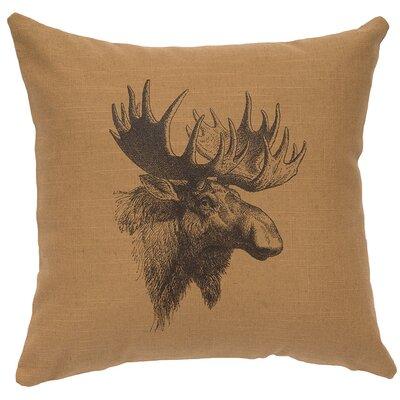 Linen Image Throw Pillow Color: Khaki Moose Profile