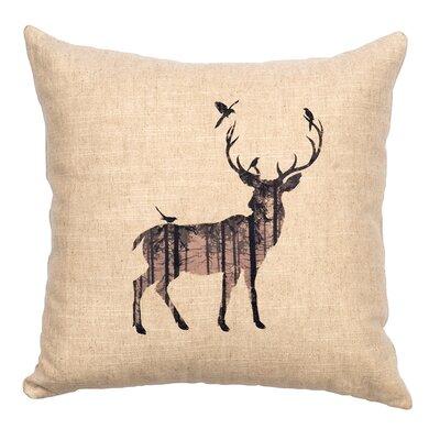 Linen Image Throw Pillow Color: Khaki Deer Shadow