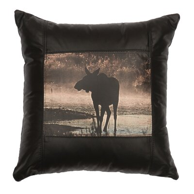 Moose Hollow Leather Throw Pillow