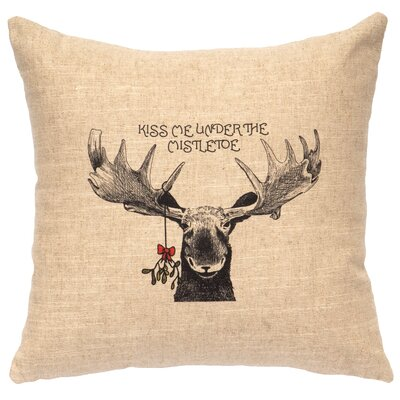 Mistletoe Moose Throw Pillow Color: Natural