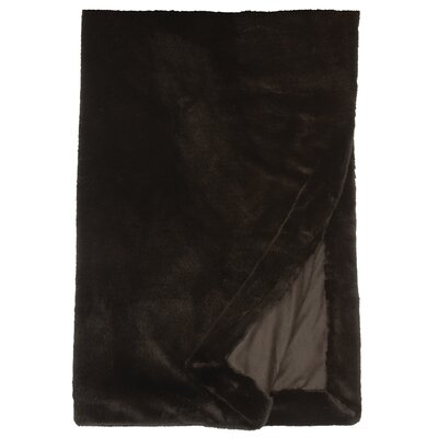 Faux Fur Throw Color: Black Sable