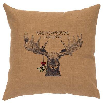 Mistletoe Moose Throw Pillow Color: Khaki