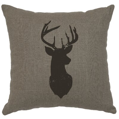 Chantal Linen Deer Head Silhouette Throw Pillow Color: Gray