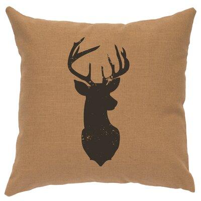 Chantal Linen Deer Head Silhouette Throw Pillow Color: Khaki