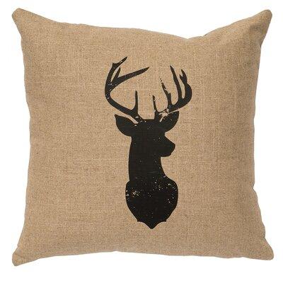 Chantal Linen Deer Head Silhouette Throw Pillow Color: Natural
