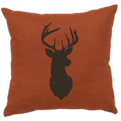 Chantal Linen Deer Head Silhouette Throw Pillow Color: Paprika