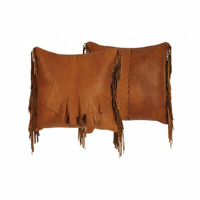 Flap and Fringe Leather Throw Pillow