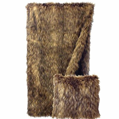 Coyote Faux Fur Throw Pillow
