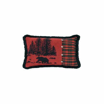 Wooded River Bear Plaid Lumbar Pillow