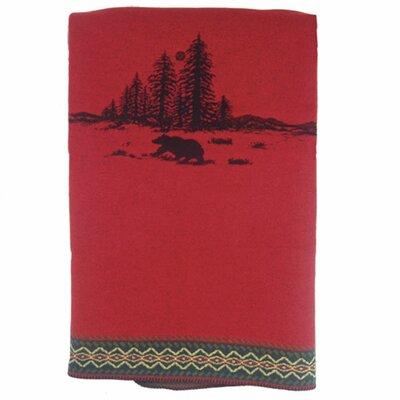 Wooded River Bear Wool Throw Blanket