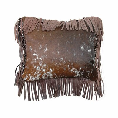 Speckled Hair on Hide Fargo Leather Fringe Throw Pillow