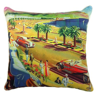 Summer Abroad Indoor/Outdoor Throw Pillow Fabric: Seaside View Postcard, Size: 20 H x 20 W x 5.5 D