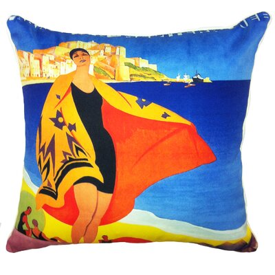 Summer Abroad Indoor/Outdoor Throw Pillow Fabric: Woman On The Beach Circa 1940S, Size: 20 H x 20 W x 5.5 D