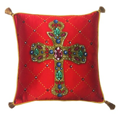 Holiday Elegance Crystal Colorful Cross Throw Pillow