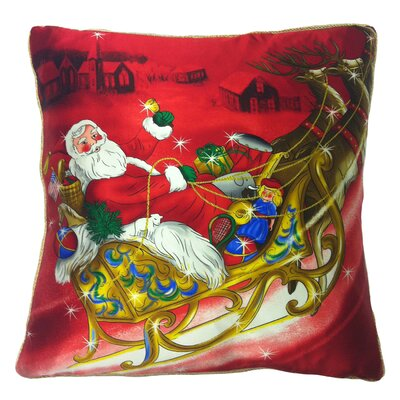 Holiday Elegance Crystal Santa Sleigh Throw Pillow