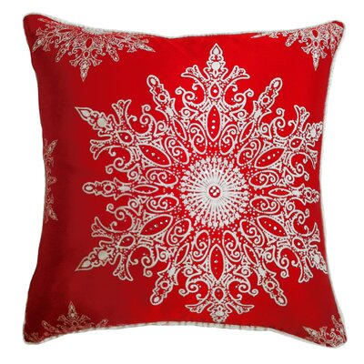 Holiday Elegance Snowflake II Silk Throw Pillow Color: Red