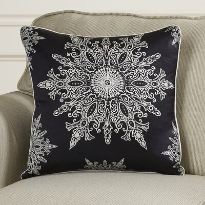 Holiday Elegance Snowflake II Silk Throw Pillow Color: Black