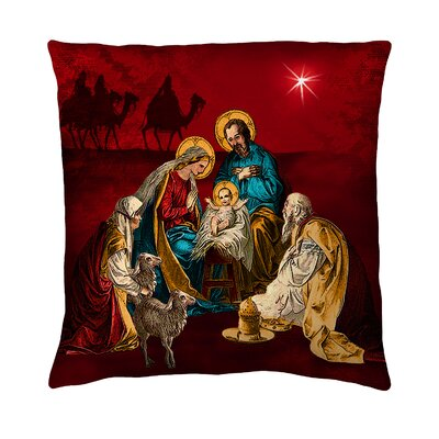 Holiday Elegance A Child is Born Silk Throw Pillow