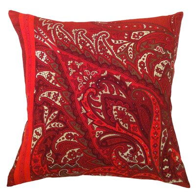Fiore Vintage Prints Exploded Paisley Silk Throw Pillow Color: Tango