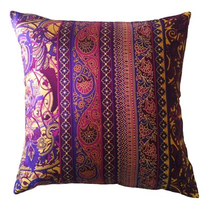 Fiore Vintage Prints Floral Stripe Silk Throw Pillow Color: Eggplant