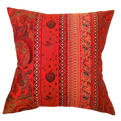Fiore Vintage Prints Floral Stripe Silk Throw Pillow Color: Tango