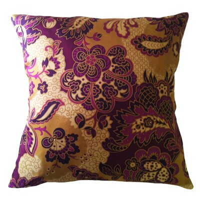 Fiore Vintage Prints Repeat Floral Silk Throw Pillow Color: Eggplant