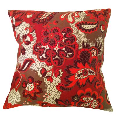 Fiore Vintage Prints Repeat Floral Silk Throw Pillow Color: Tango