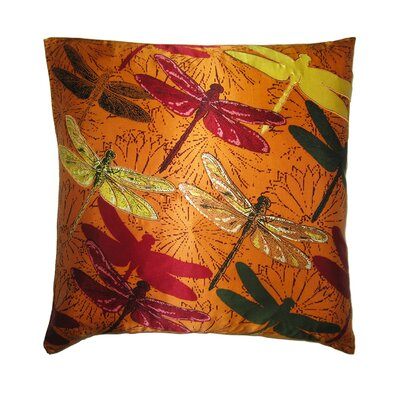 Flower Power Dragonfly Throw Pillow Color: Orange