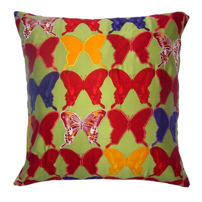 Flower Power Butterfly Throw Pillow Color: Sage