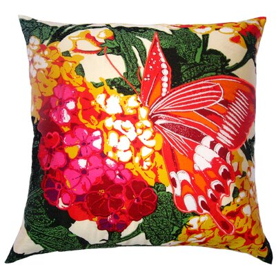 Flower Power Lantana Throw Pillow Color: Cream