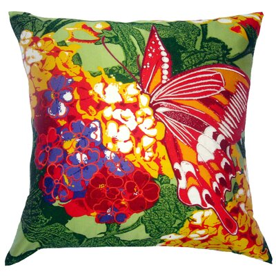 Flower Power Lantana Throw Pillow Color: Sage