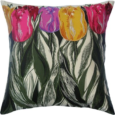 Flower Power Tulip Throw Pillow Color: Cream