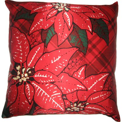Holiday Elegance Poinsettia Silk Throw Pillow