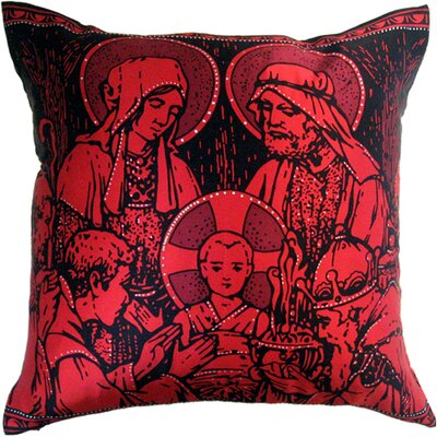 Holiday Elegance Manger Scene Silk Throw Pillow