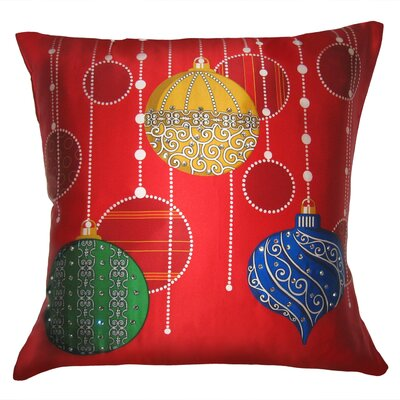 Holiday Elegance Sparkling Ornaments Silk Throw Pillow