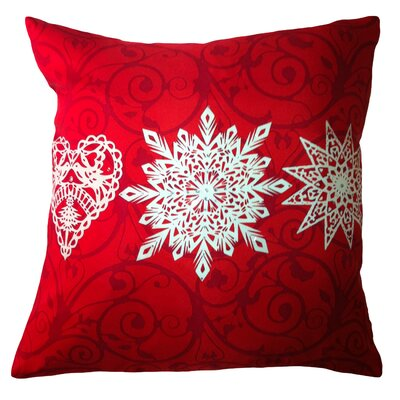 Holiday Elegance Star Heart Snowflake Silk Throw Pillow