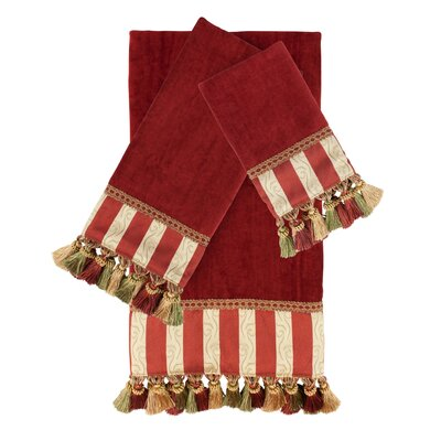 Decorative 3 Piece Towel Set Color: Red