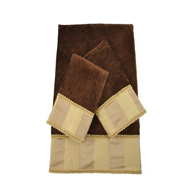 Genevieve Stripe Luxury Embellished 3 Piece Decorative Towel Set Color: Brown