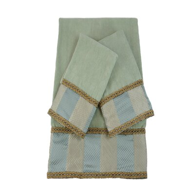 Genevieve Stripe Luxury Embellished Decorative 3 Piece Towel Set Color: Seamist