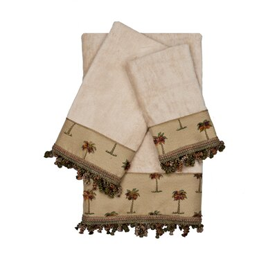 Tropicana Decorative Embellished 3 Piece Towel Set Color: Beige