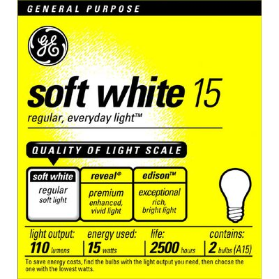 E26/Medium Incandescent Light Bulb Wattage: 15W