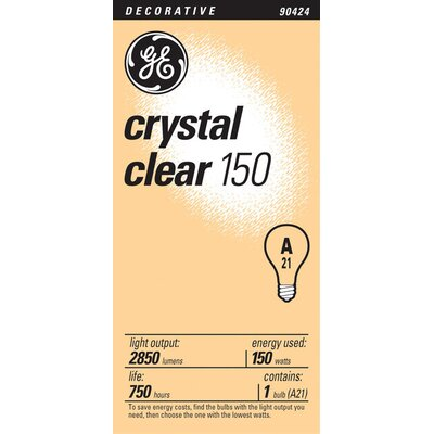 E26/Medium Incandescent Light Bulb Finish: Crystal Clear, Wattage: 150W
